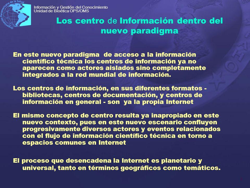 3 Información y Gestión del Conocimiento Unidad de Bioética OPS/OMS Los centro de Información dentro del nuevo paradigma En este nuevo paradigma de ac