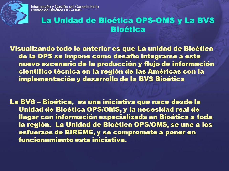 7 Información y Gestión del Conocimiento Unidad de Bioética OPS/OMS La Unidad de Bioética OPS-OMS y La BVS Bioética Visualizando todo lo anterior es q