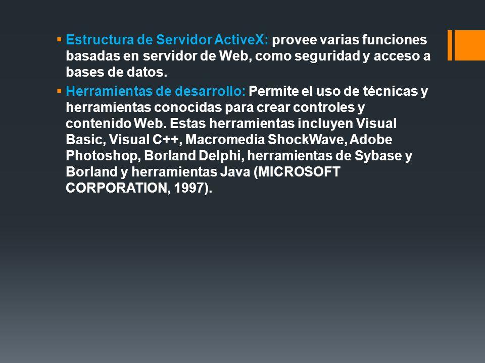 Estructura de Servidor ActiveX: provee varias funciones basadas en servidor de Web, como seguridad y acceso a bases de datos. Herramientas de desarrol