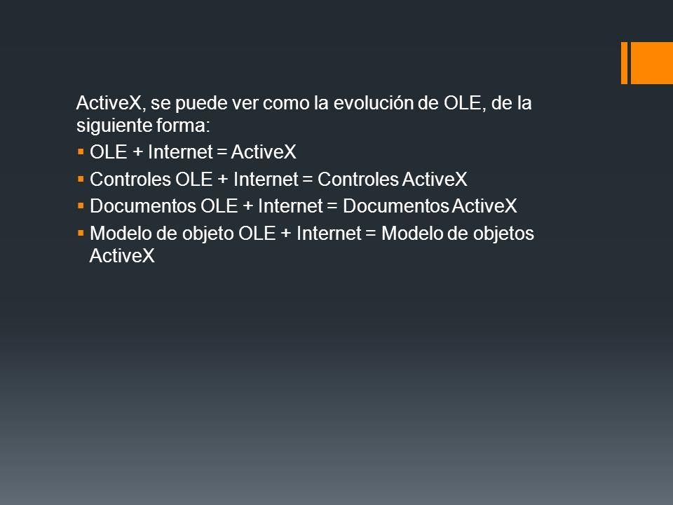 ActiveX, se puede ver como la evolución de OLE, de la siguiente forma: OLE + Internet = ActiveX Controles OLE + Internet = Controles ActiveX Documento