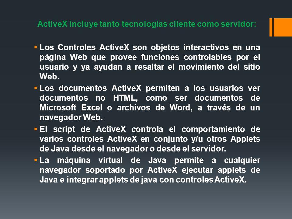 ActiveX incluye tanto tecnologías cliente como servidor: Los Controles ActiveX son objetos interactivos en una página Web que provee funciones control