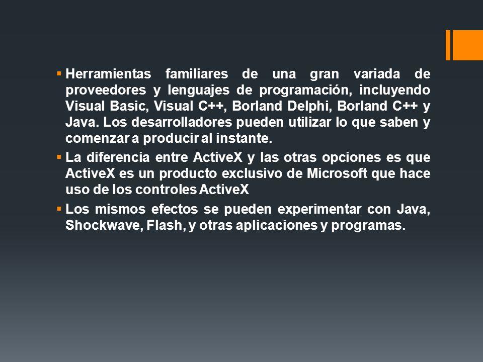 Estándares ActiveX Controles ActiveX: son componentes de software que corren en páginas Web, y proveen funciones interactivas controlables por el usuario.