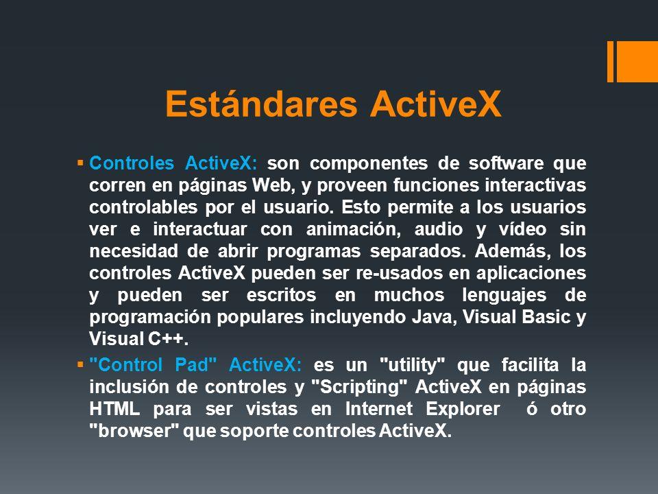 Estándares ActiveX Controles ActiveX: son componentes de software que corren en páginas Web, y proveen funciones interactivas controlables por el usua