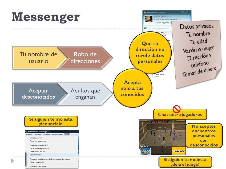 Messenger Que tu dirección no revele datos personales Aceptá solo a tus conocidos Si alguien te molesta, ¡denuncialo! Tu nombre de usuario Robo de dir