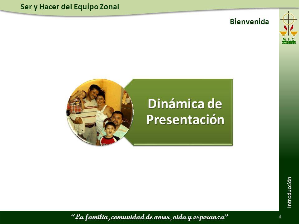Ser y Hacer del Equipo Zonal La familia, comunidad de amor, vida y esperanza Bienvenida 4 Dinámica de Presentación Introducción