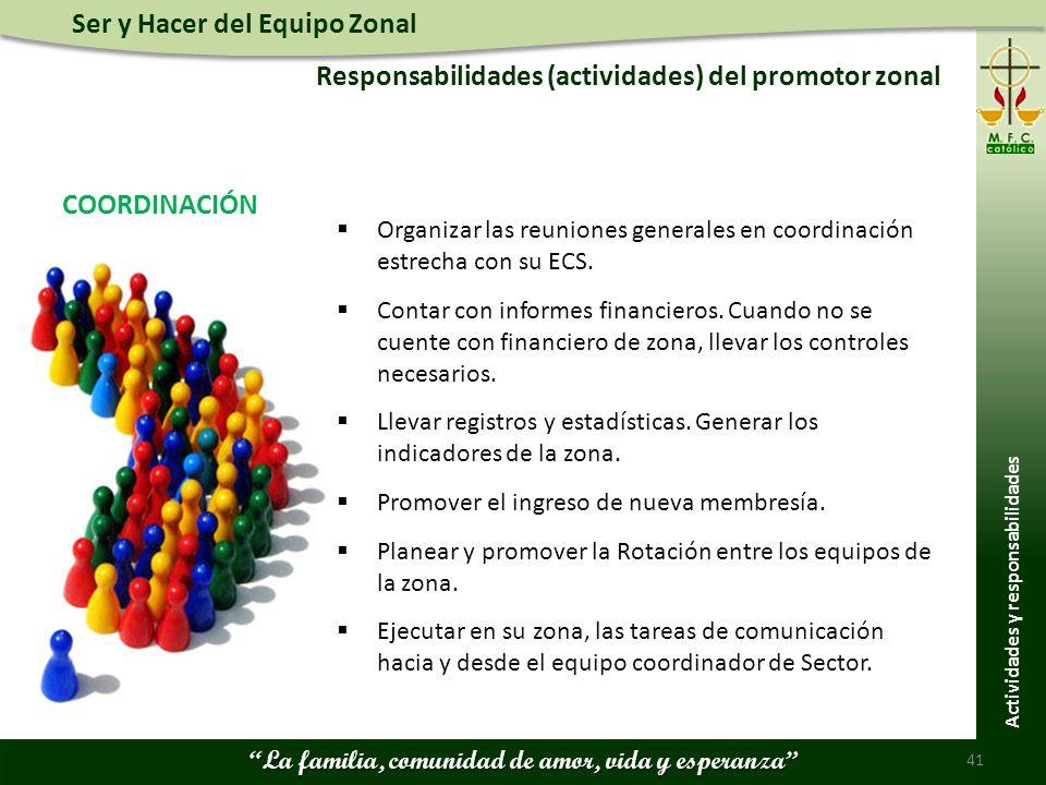 Ser y Hacer del Equipo Zonal La familia, comunidad de amor, vida y esperanza Responsabilidades (actividades) del promotor zonal 41 Actividades y responsabilidades Organizar las reuniones generales en coordinación estrecha con su ECS.