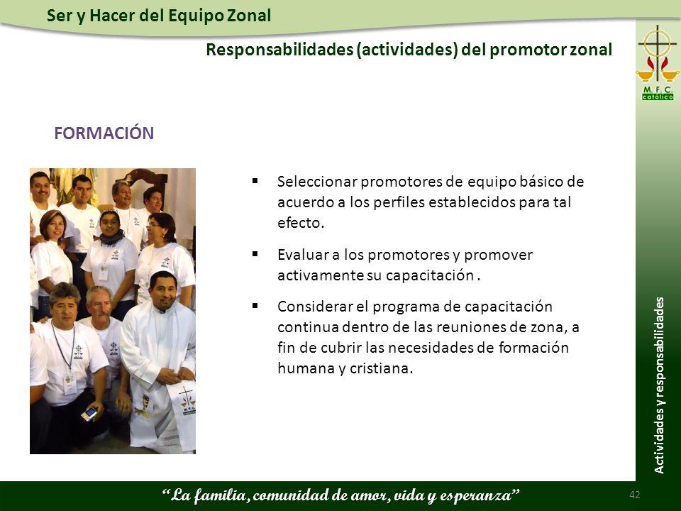 Ser y Hacer del Equipo Zonal La familia, comunidad de amor, vida y esperanza Responsabilidades (actividades) del promotor zonal 42 Actividades y respo