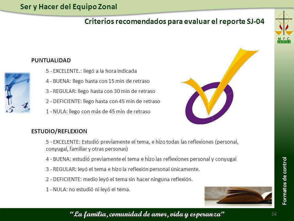 Ser y Hacer del Equipo Zonal La familia, comunidad de amor, vida y esperanza Criterios recomendados para evaluar el reporte SJ-04 54 Formatos de contr