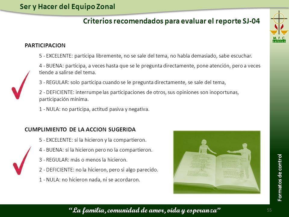 Ser y Hacer del Equipo Zonal La familia, comunidad de amor, vida y esperanza Criterios recomendados para evaluar el reporte SJ-04 55 Formatos de contr