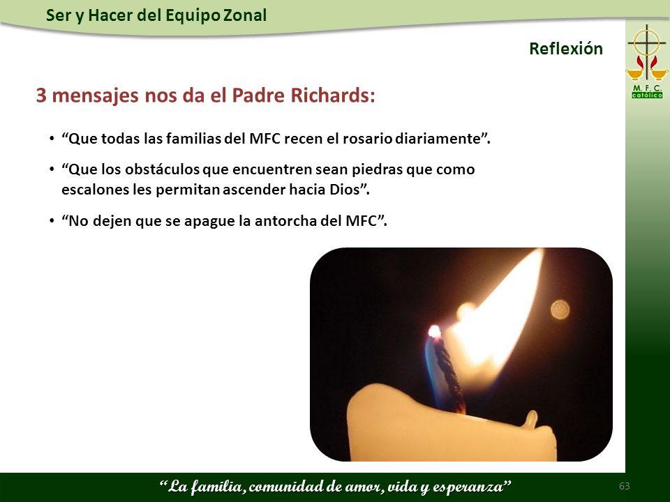 Ser y Hacer del Equipo Zonal La familia, comunidad de amor, vida y esperanza 63 Reflexión 3 mensajes nos da el Padre Richards: Que todas las familias