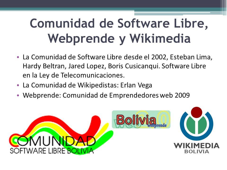 Comunidad de Software Libre, Webprende y Wikimedia La Comunidad de Software Libre desde el 2002, Esteban Lima, Hardy Beltran, Jared Lopez, Boris Cusic