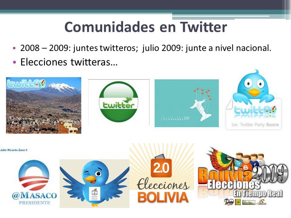 Comunidades en Twitter 2008 – 2009: juntes twitteros; julio 2009: junte a nivel nacional. Elecciones twitteras…