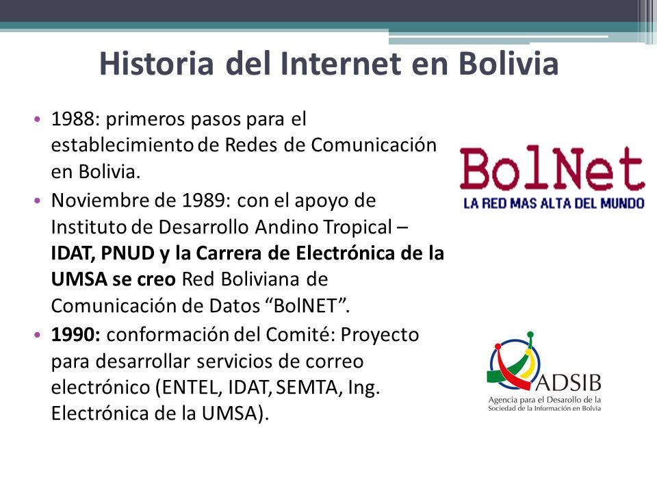 Historia del Internet en Bolivia 1988: primeros pasos para el establecimiento de Redes de Comunicación en Bolivia. Noviembre de 1989: con el apoyo de