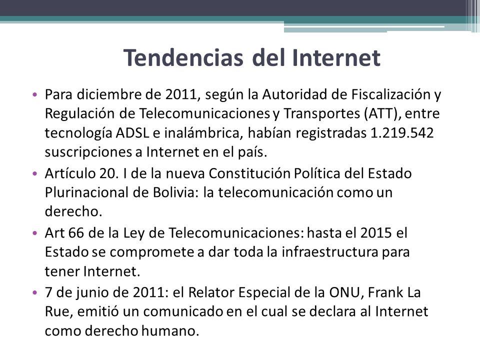 Tendencias del Internet Para diciembre de 2011, según la Autoridad de Fiscalización y Regulación de Telecomunicaciones y Transportes (ATT), entre tecn