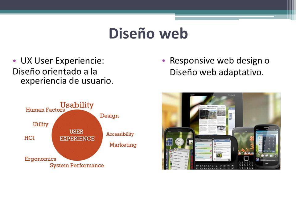 Diseño web UX User Experiencie: Diseño orientado a la experiencia de usuario. Responsive web design o Diseño web adaptativo.