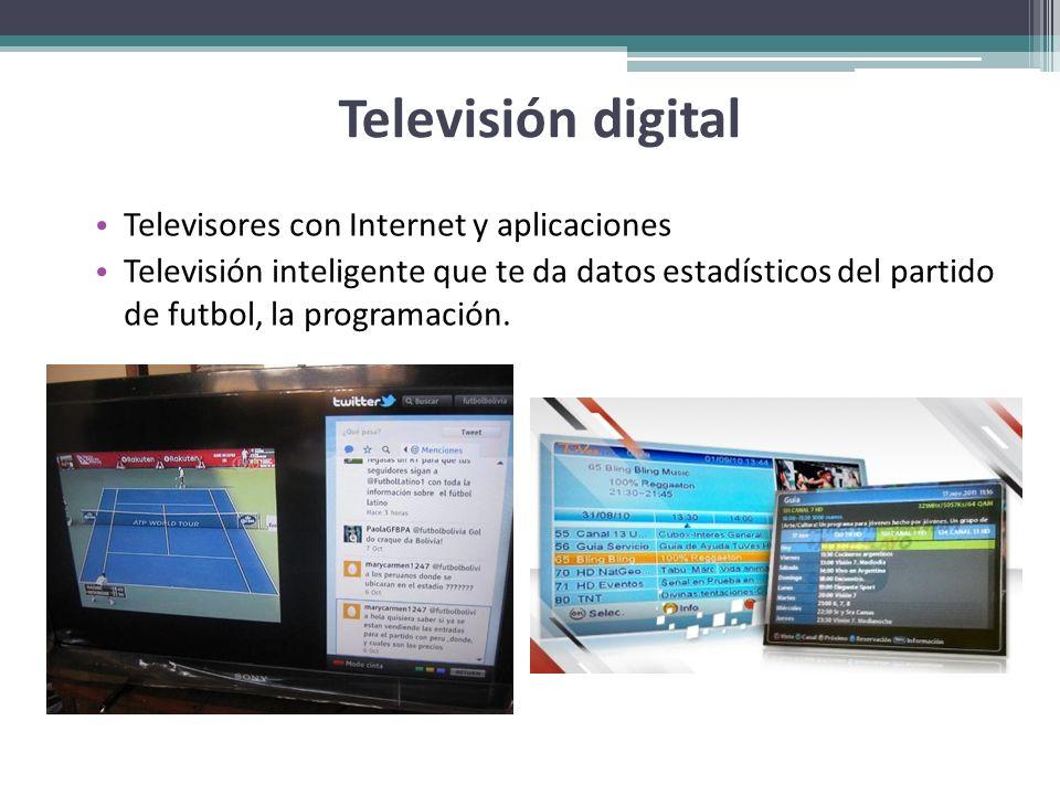 Televisión digital Televisores con Internet y aplicaciones Televisión inteligente que te da datos estadísticos del partido de futbol, la programación.