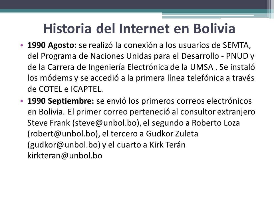 Historia del Internet en Bolivia 1990 Agosto: se realizó la conexión a los usuarios de SEMTA, del Programa de Naciones Unidas para el Desarrollo - PNU