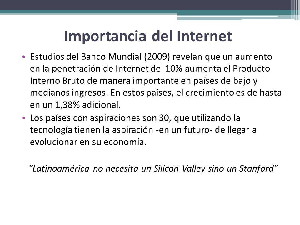 Importancia del Internet Estudios del Banco Mundial (2009) revelan que un aumento en la penetración de Internet del 10% aumenta el Producto Interno Br