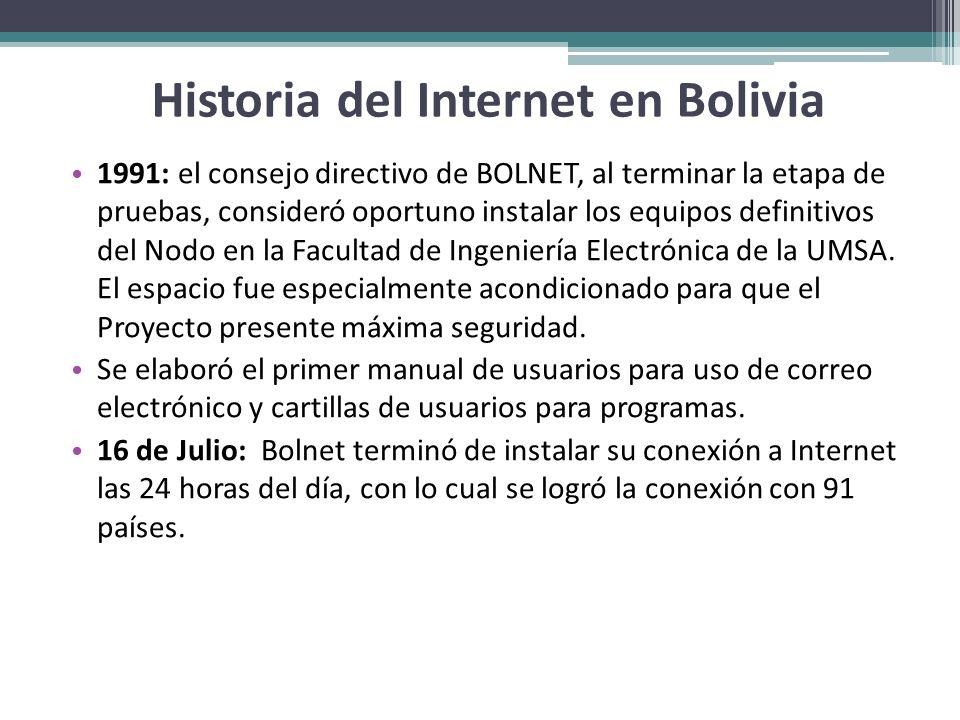 Historia del Internet en Bolivia 1991: el consejo directivo de BOLNET, al terminar la etapa de pruebas, consideró oportuno instalar los equipos defini