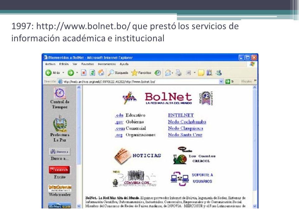 1997: http://www.bolnet.bo/ que prestó los servicios de información académica e institucional