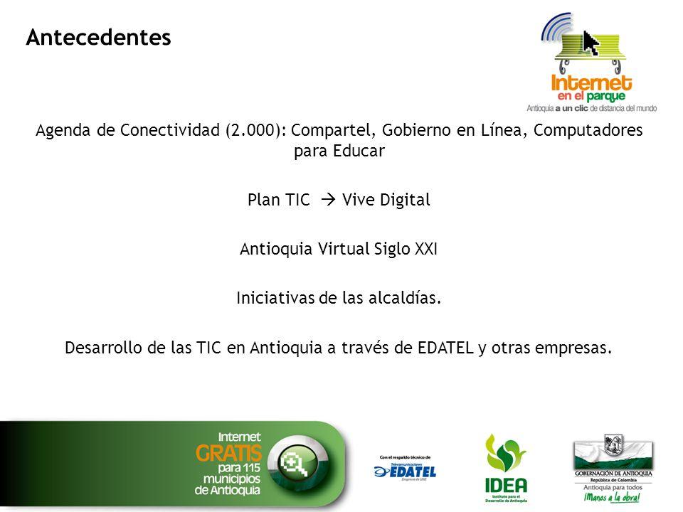 Antecedentes Agenda de Conectividad (2.000): Compartel, Gobierno en Línea, Computadores para Educar Plan TIC Vive Digital Antioquia Virtual Siglo XXI