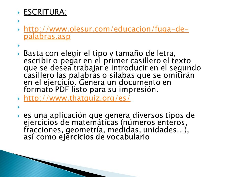 http://www.genmagic.net/educa/course/view.php?id=13 Banco de generadores de fichas de ejercicios para varias asignaturas.