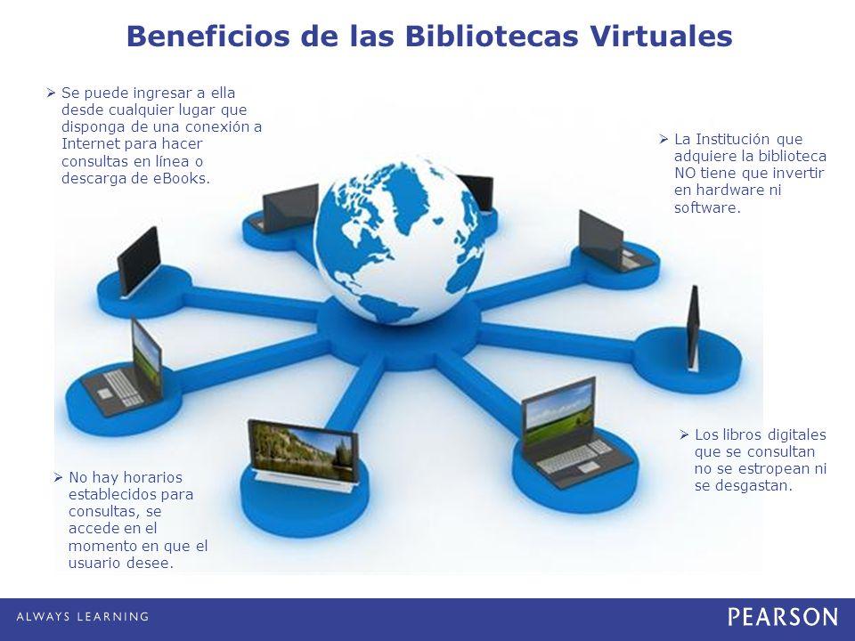 Beneficios de las Bibliotecas Virtuales Se puede ingresar a ella desde cualquier lugar que disponga de una conexión a Internet para hacer consultas en