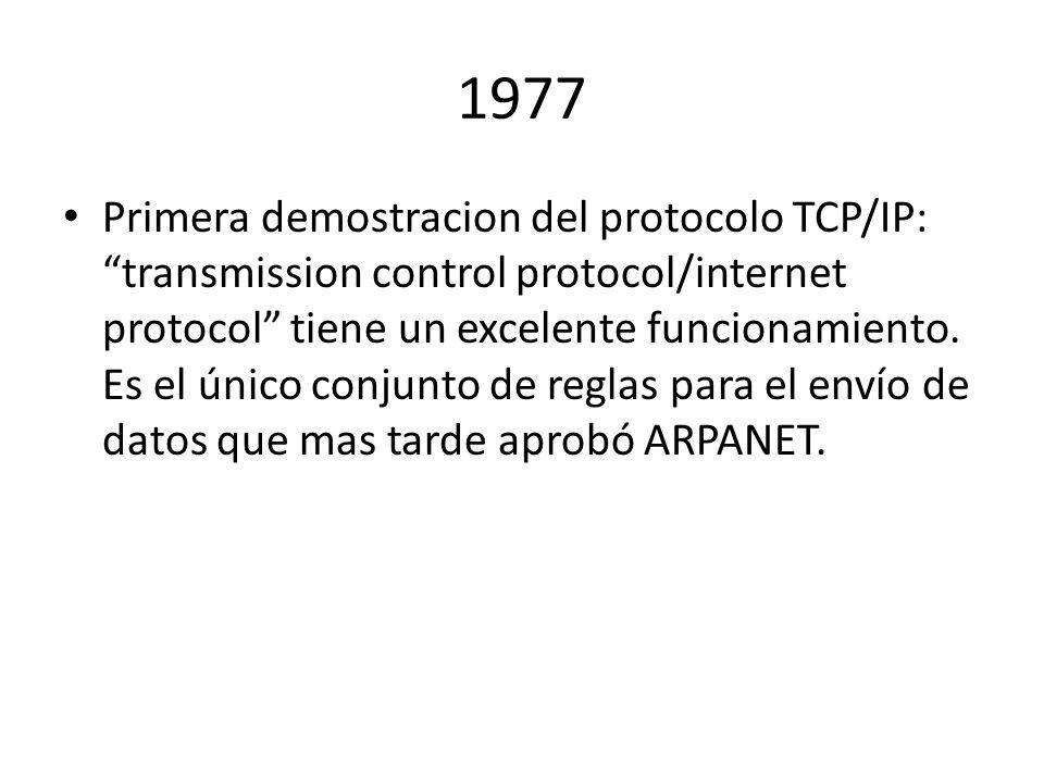 1977 Primera demostracion del protocolo TCP/IP: transmission control protocol/internet protocol tiene un excelente funcionamiento. Es el único conjunt