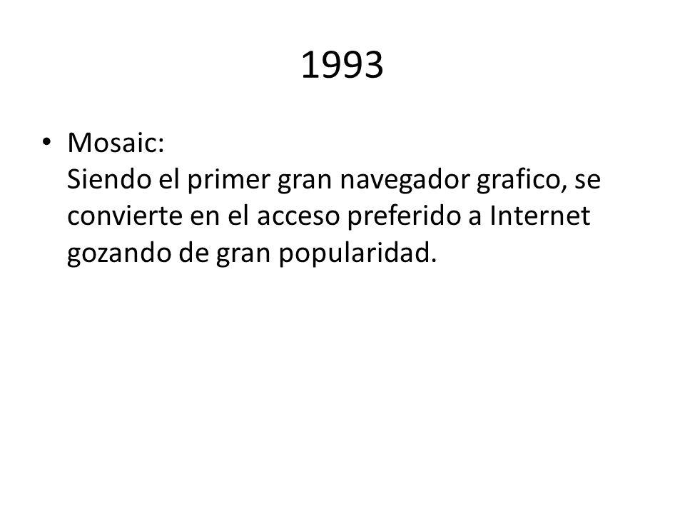 1993 Mosaic: Siendo el primer gran navegador grafico, se convierte en el acceso preferido a Internet gozando de gran popularidad.