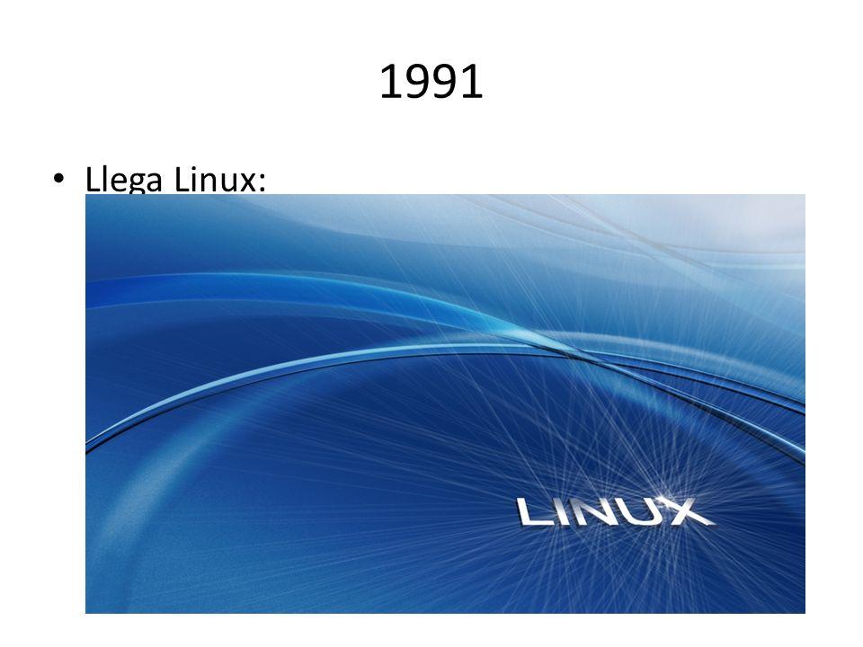 1991 Llega Linux: El finlandés Linus Torvalds crea el nuevo sistema operativo libre.