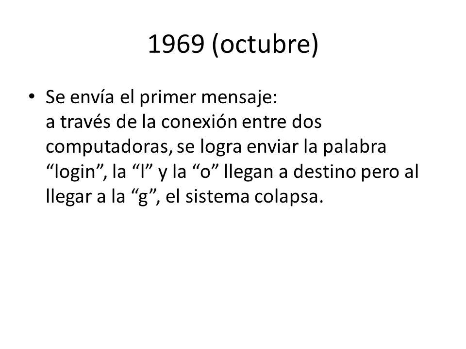 1969 (octubre) Se envía el primer mensaje: a través de la conexión entre dos computadoras, se logra enviar la palabra login, la l y la o llegan a dest