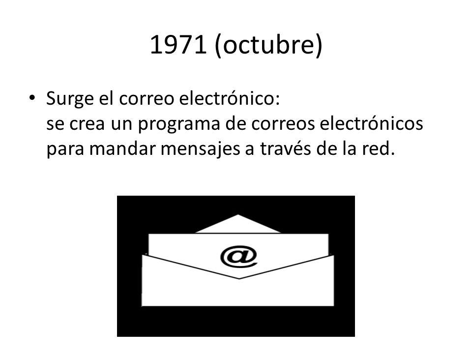1971 (octubre) Surge el correo electrónico: se crea un programa de correos electrónicos para mandar mensajes a través de la red.
