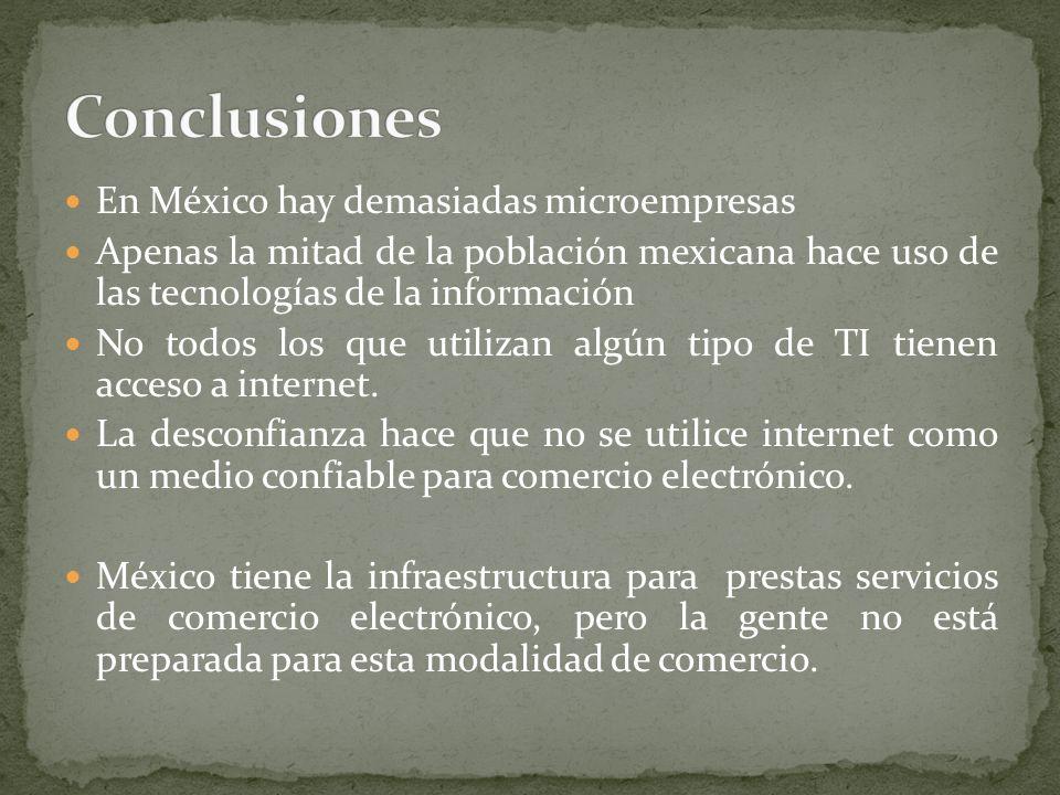 En México hay demasiadas microempresas Apenas la mitad de la población mexicana hace uso de las tecnologías de la información No todos los que utilizan algún tipo de TI tienen acceso a internet.