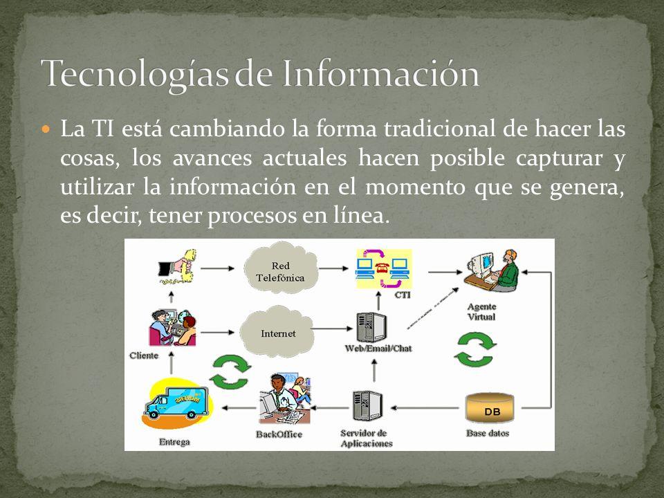 La TI está cambiando la forma tradicional de hacer las cosas, los avances actuales hacen posible capturar y utilizar la información en el momento que se genera, es decir, tener procesos en línea.