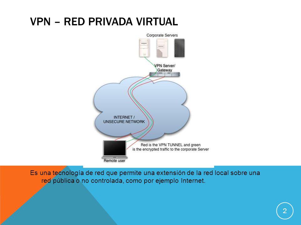 VPN – RED PRIVADA VIRTUAL Es una tecnología de red que permite una extensión de la red local sobre una red pública o no controlada, como por ejemplo I