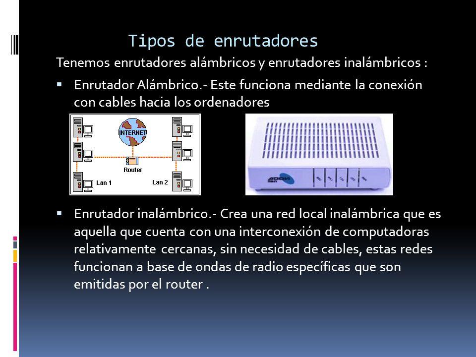 Tipos de enrutadores Tenemos enrutadores alámbricos y enrutadores inalámbricos : Enrutador Alámbrico.- Este funciona mediante la conexión con cables h