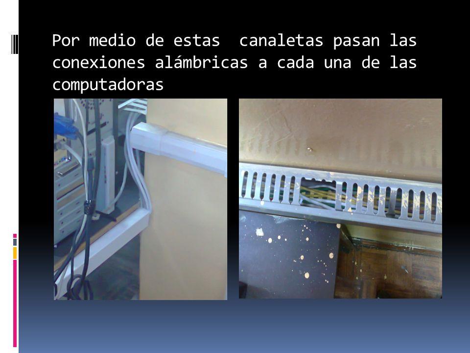 Por medio de estas canaletas pasan las conexiones alámbricas a cada una de las computadoras
