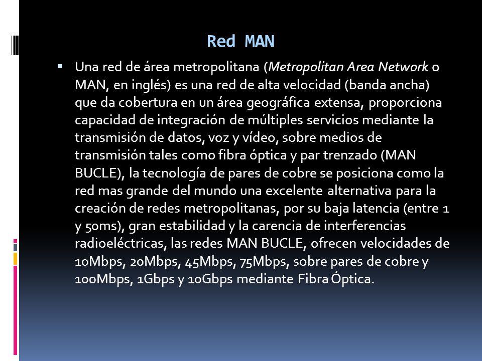 Red MAN Una red de área metropolitana (Metropolitan Area Network o MAN, en inglés) es una red de alta velocidad (banda ancha) que da cobertura en un á