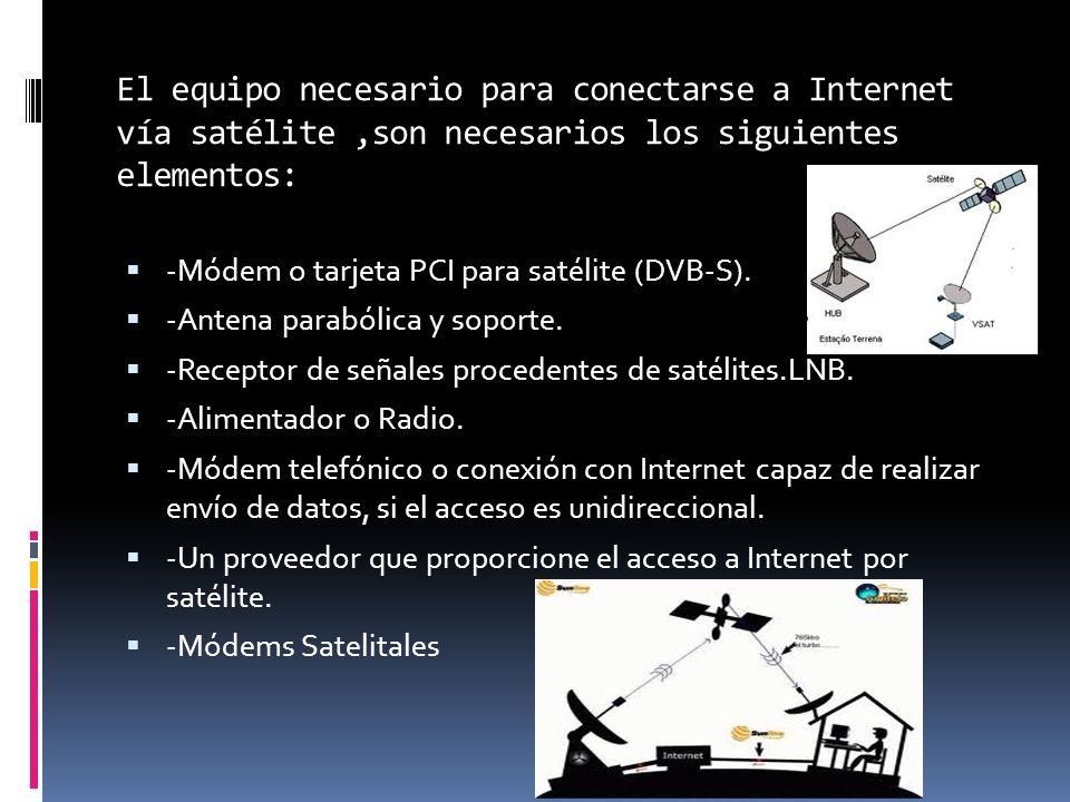 El equipo necesario para conectarse a Internet vía satélite,son necesarios los siguientes elementos: -Módem o tarjeta PCI para satélite (DVB-S). -Ante