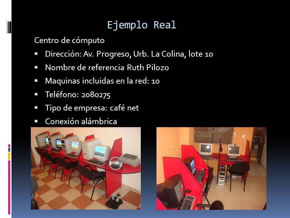 Ejemplo Real Centro de cómputo Dirección: Av. Progreso, Urb. La Colina, lote 10 Nombre de referencia Ruth Pilozo Maquinas incluidas en la red: 10 Telé