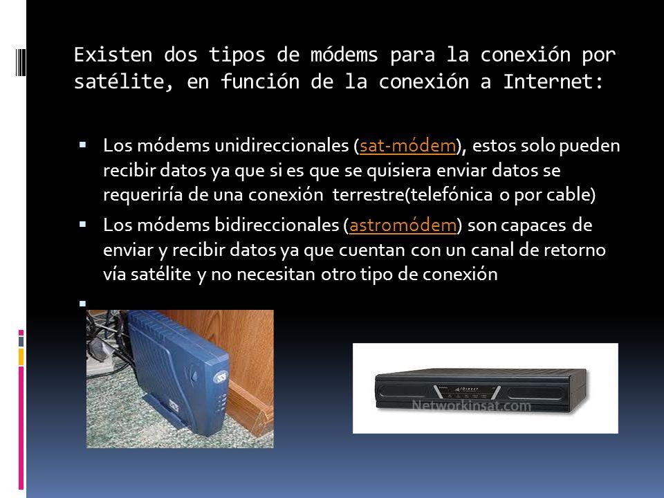 Existen dos tipos de módems para la conexión por satélite, en función de la conexión a Internet: Los módems unidireccionales (sat-módem), estos solo p