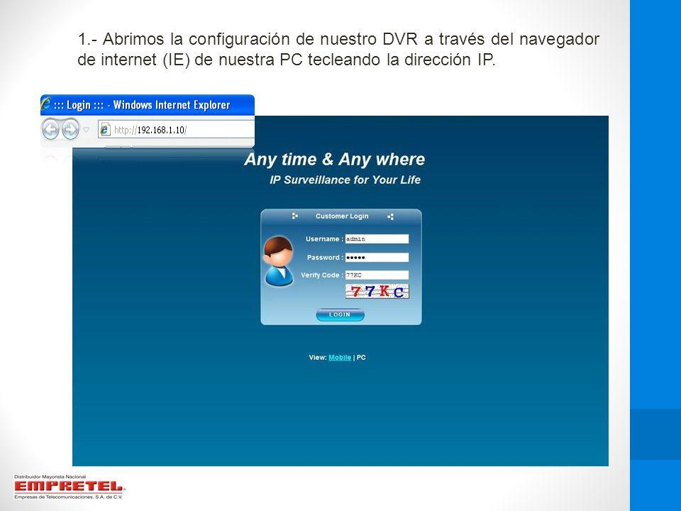 2.- Una vez en la interfaz web nos desplazamos a la opción de configuración, dando click en el icono señalado.