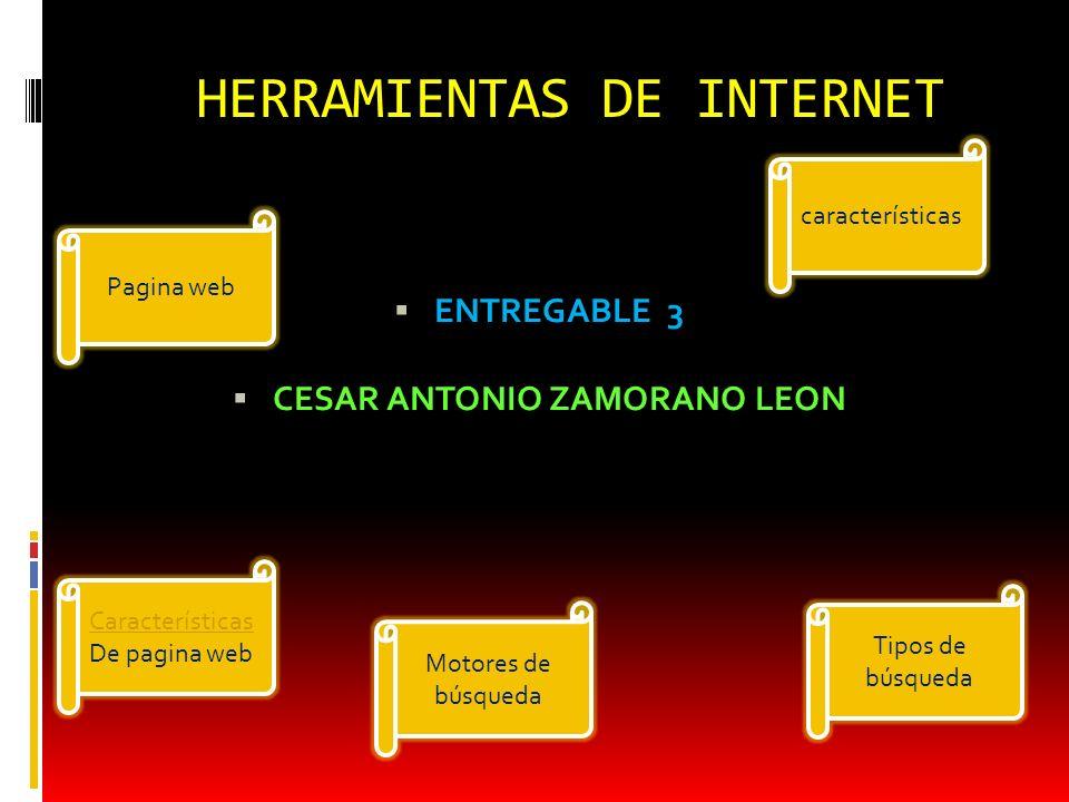 HERRAMIENTAS DE INTERNET ENTREGABLE 3 CESAR ANTONIO ZAMORANO LEON características Pagina web Características De pagina web Motores de búsqueda Tipos d