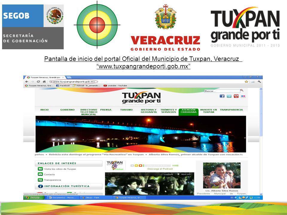 Pantalla de inicio del portal Oficial del Municipio de Tuxpan, Veracruz www.tuxpangrandeporti.gob.mx