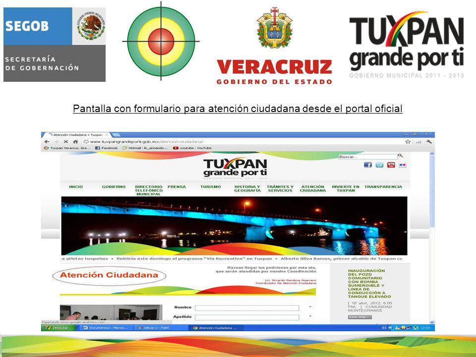 Pantalla con formulario para atención ciudadana desde el portal oficial