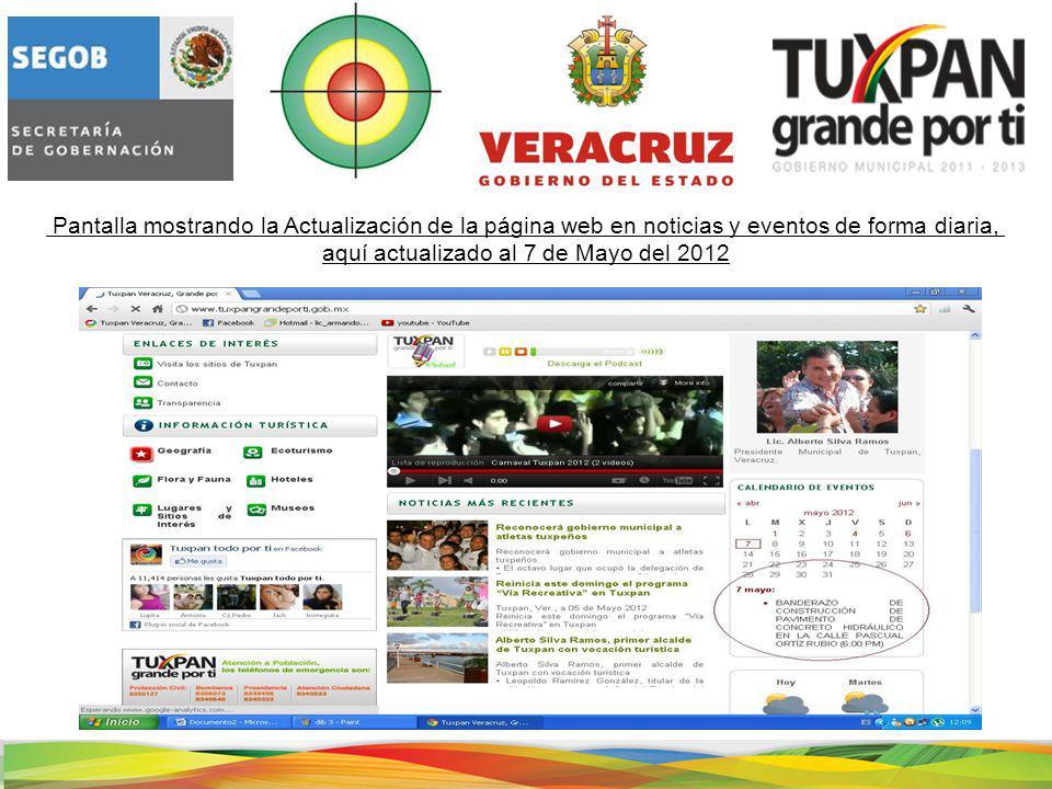 Pantalla mostrando la Actualización de la página web en noticias y eventos de forma diaria, aquí actualizado al 7 de Mayo del 2012