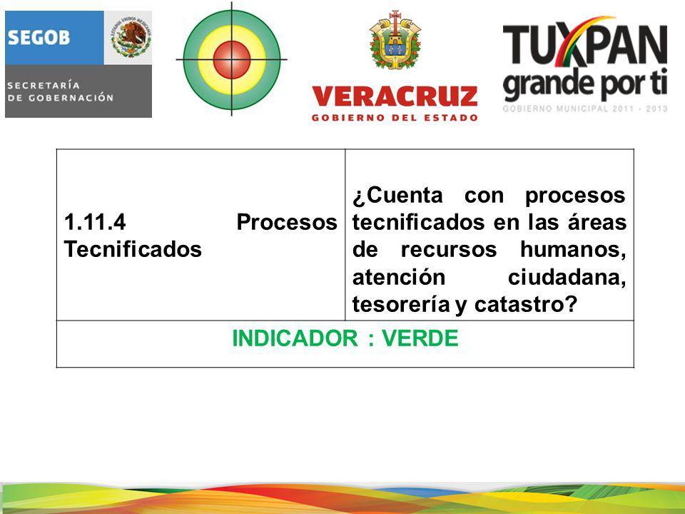 1.11.4 Procesos Tecnificados ¿Cuenta con procesos tecnificados en las áreas de recursos humanos, atención ciudadana, tesorería y catastro.