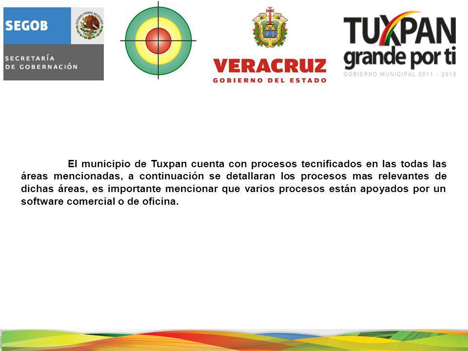 El municipio de Tuxpan cuenta con procesos tecnificados en las todas las áreas mencionadas, a continuación se detallaran los procesos mas relevantes de dichas áreas, es importante mencionar que varios procesos están apoyados por un software comercial o de oficina.
