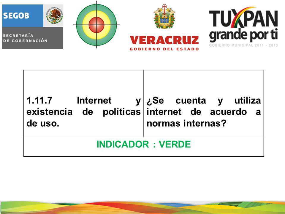1.11.7 Internet y existencia de políticas de uso.