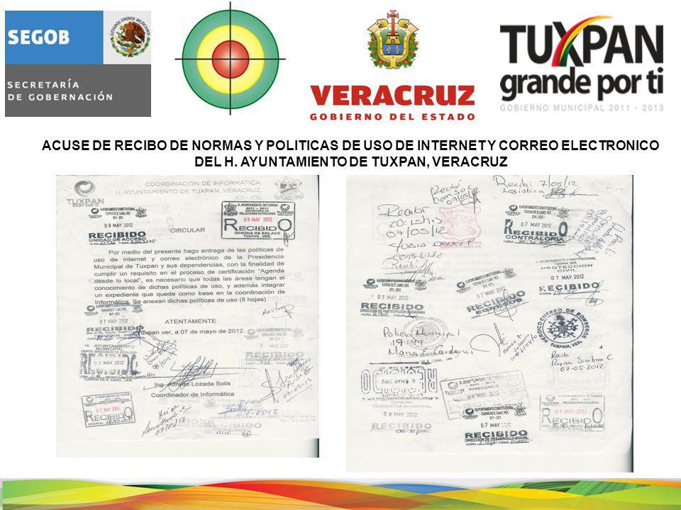 ACUSE DE RECIBO DE NORMAS Y POLITICAS DE USO DE INTERNET Y CORREO ELECTRONICO DEL H.
